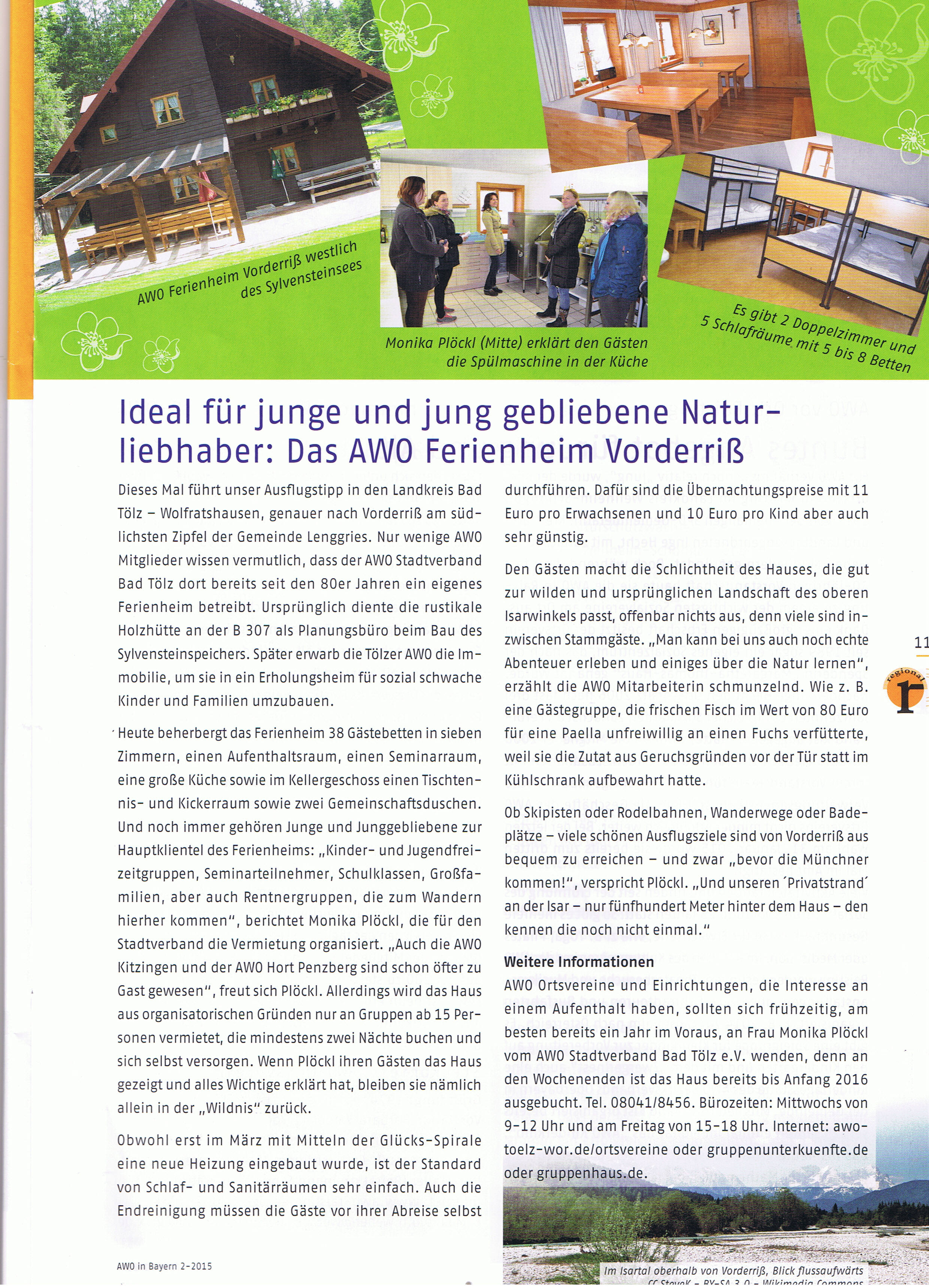 Ferienheim Vorderriß - Artikel AWO-Heft 06-2015